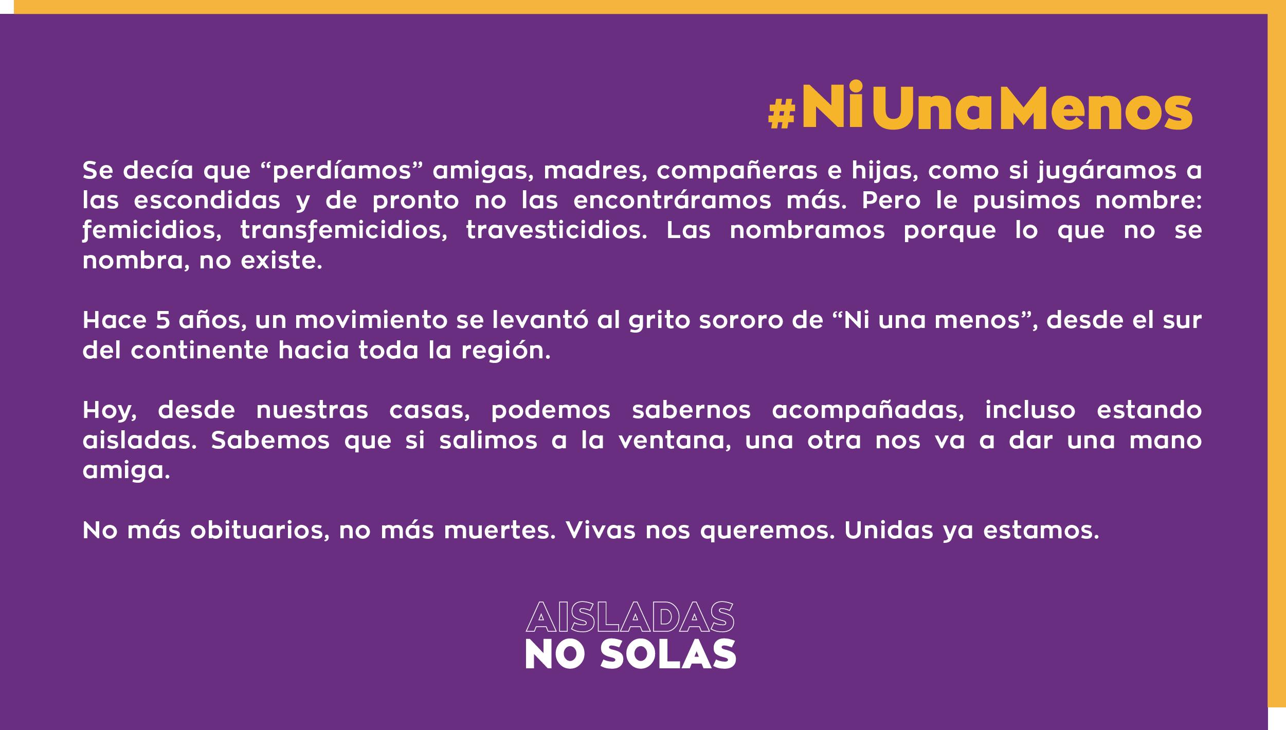 En el quinto aniversario del primer #NiUnaMenos decimos #BastadeFemicidios